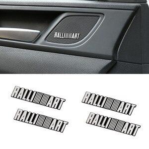 Adesivo emblema de alumínio para mitsubishi raliart, 4 unidades, 3d, acessórios automotivos, estilo de carro, decoração de áudio