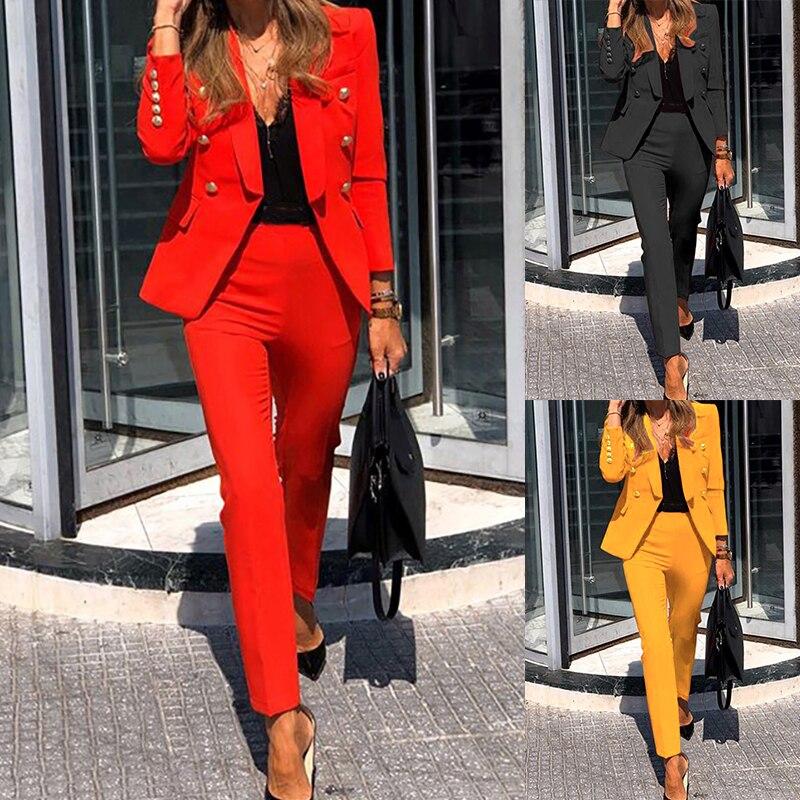 2PCS Women Elegant Pant Suits Office Uniform OL Work Wear Casual Blazer Sets
