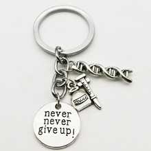 1PC Medical Keychain DNA Keychain, Never Abandon Jewelry Keychain Gift DIY Handmade(China)