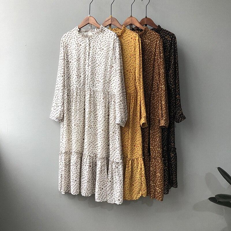 2020 Women Summer Long Dress Streetwear Long Sleeve Empire A-line Mid-Calf Chiffon Print Vestidos