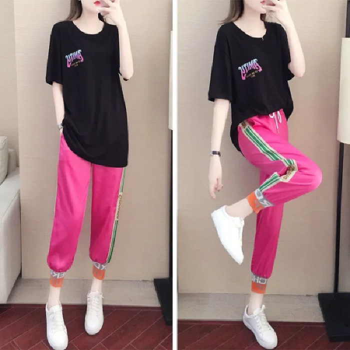 2020 Short Sleeve Sports WOMEN'S Suit Summer New Style Online Celebrity Elegant Korean-style Loose-Fit Students Casual Two-Piece