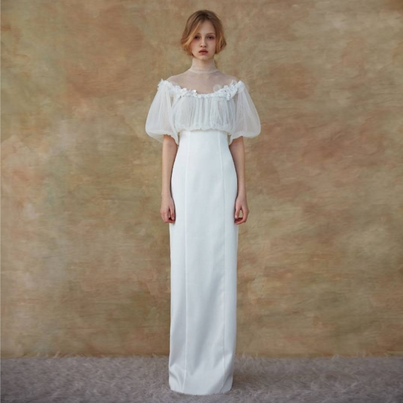 Puff Sleeve Soft Satin Light Wedding Dress Bridal Gowns Vintage Chic Simple