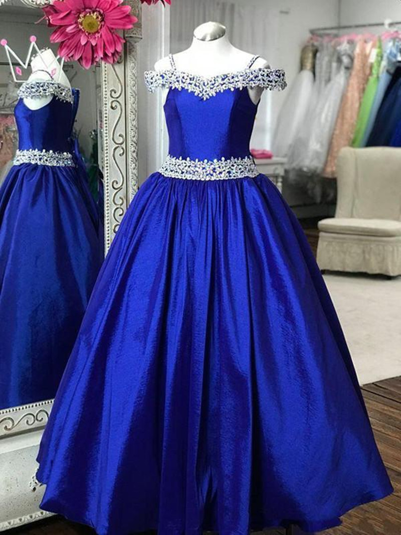 235 Flower Girl Dresses A Line Off Shoulder Crystal Beaded Satin Girls Pageant Dresses For Wedding Party