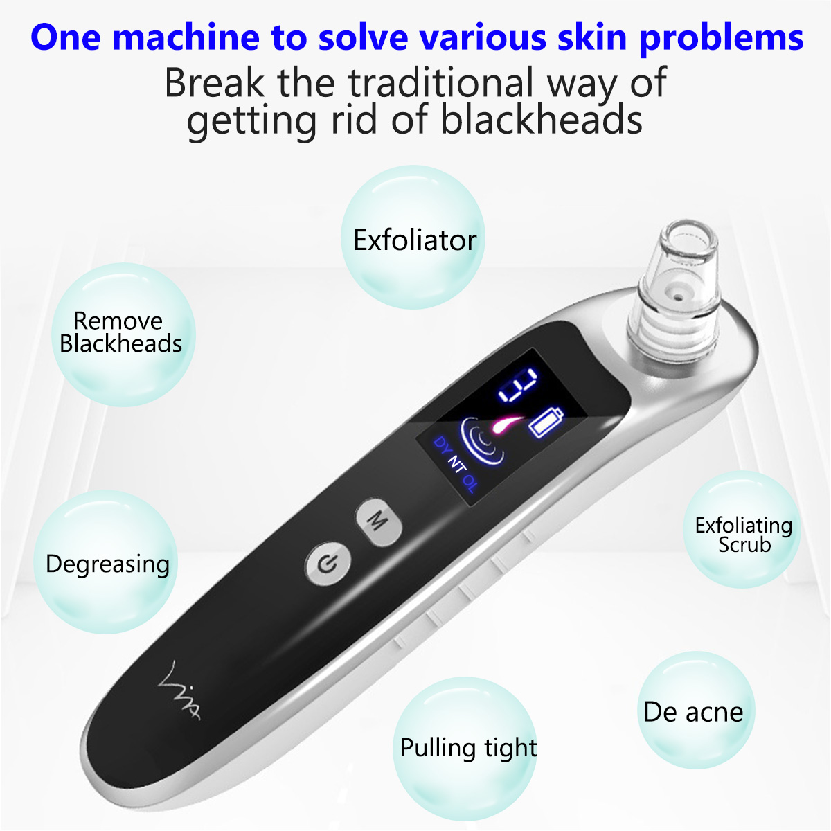 Face Nose Acne Black Dot Pimple Blackhead Remover Electric Blackhead Vacuum Cleaner Pore Skin Care Tools Machine With 6 Head