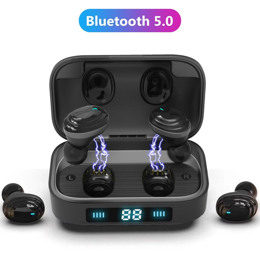 Wireless <font><b>TWS</b></font> Bluetooth Earphone True Bluetooth 5.0 Earbuds 9D Stereo Music Headphones Touch Control 2000mAh LED Display image