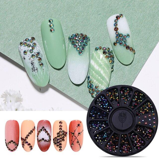 1 Box Mixed Color Nail Art Rhinestone Shiny Crystal Diamond Nail Glitter Beads 3D Nail Art Decorations Nail Accessories In Wheel 4