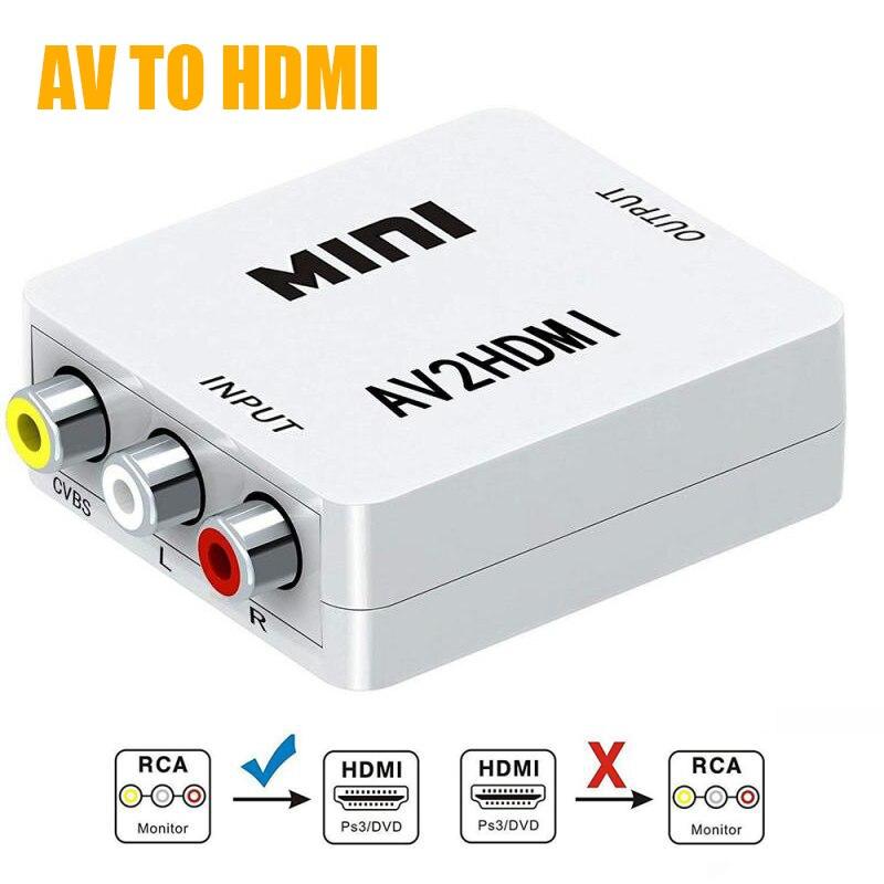 Mini RCA AV Male to HDMI Female Converter Adapter Full HD 1080P Mini Composite CVBS to HDMI AV2HDMI Audio Converter
