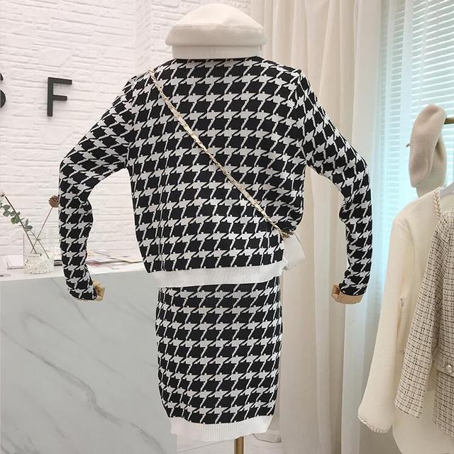 Femmes tricoté pied de poule veste manteau costume automne à manches longues élégant or bouton déco Cardigan chandail et Mini jupe 2 pièces ensemble