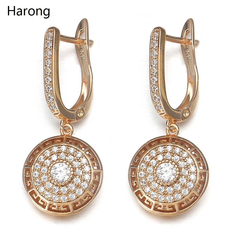 Роскошные медные серьги-капли высокого качества с кристаллами циркония золотые полые круглые модные эстетические серьги для женщин ювелир...