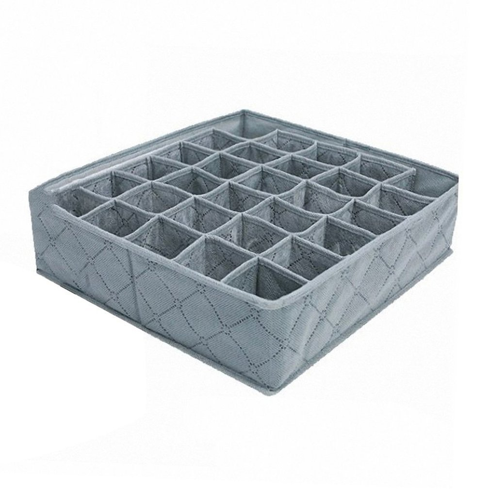 30 Cell Foldable Bamboo Charcoal Underwear Socks Drawer Organizer Storage Box Polypropylene Non-woven Seperate Box 11L