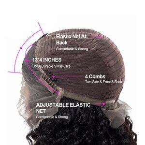 Image 4 - Парик Halo Lady Beauty 13*4 с глубокими вьющимися волосами, бразильские парики из человеческих волос на сетке спереди для афроамериканских женщин, Remy 150% 1B