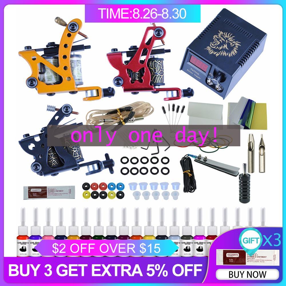 Ink-Set Makeup-Tattoo-Set Grips Power-Supply 2-Tattoo-Machines-Gun Permanent Black