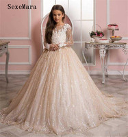 New Champagne Kids Pageant Evening Gowns Lace Ball Gown Flower Girl Dresses For Weddings First Communion Dresses For Girls