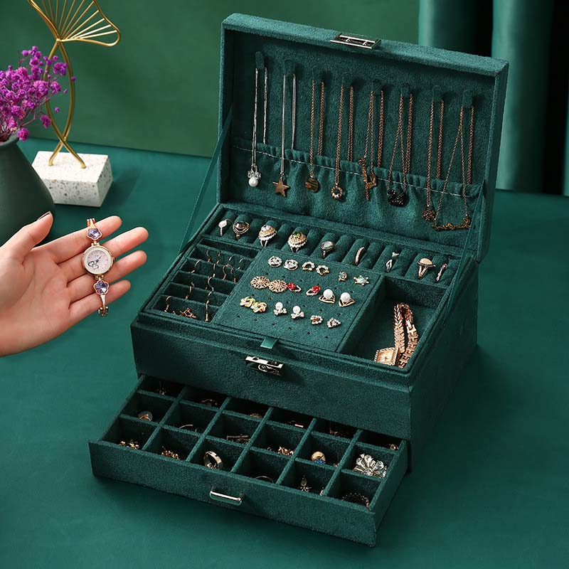 2021 New Jewelry Box 3-layers Green Stud Organizer Large Ring Necklace Makeup Holder Case Velvet Jewelry Box with Lock For Women