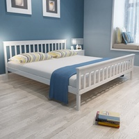vidaXL Bed Frame White Solid Pinewood 180x200 cm 6FT Super King