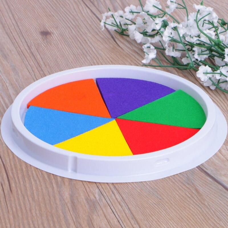 6 цветов штемпельная подушечка для печати DIY пальчиковая живопись для рукоделия, кардмейкинга большой круглый для детей