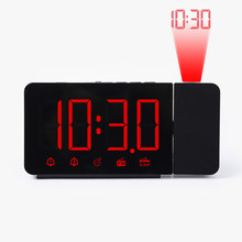 Jam Alarm LED Digital Elektronik USB Desktop Jam Meja Tunda Fungsi Bangun Watch FM Radio Waktu Proyektor Desain Modern(China)