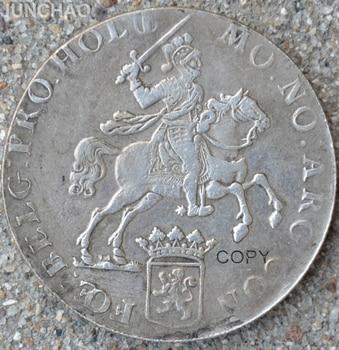 1760 monedas de Caballero de Holanda 90% monedas de copia de fabricación de plata FOE BELG: PRO. MO NO ARG! CON
