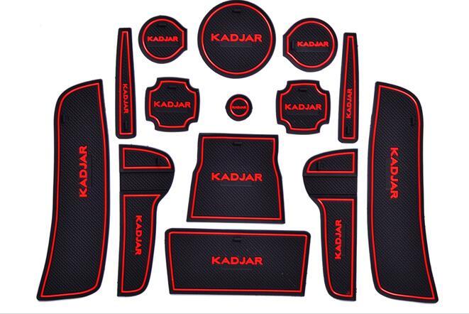 Non-slip Interior Door Pad/cup Mat Door Gate Slot Pad For Renault Kadjar Automatic AT 2012-2016,14pcs