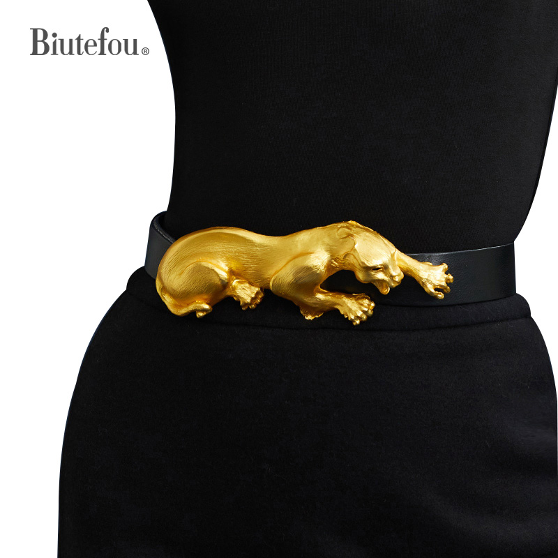 Women Exquisitely Carved Leopard First Layer Cowhide Belt Clothes Decoration