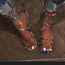 SARAIRIS Plus size 42 INS HOT 2020 flat shoelaces multi snake printed casual gladiator