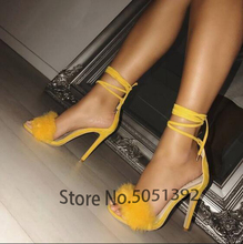 High Heel Fur Stiletto Sandals Open Toe Summer Women Dress Shoes One Strap Ankle Tie Cut Out Cover Heel Bridal Sandals Footwear недорого