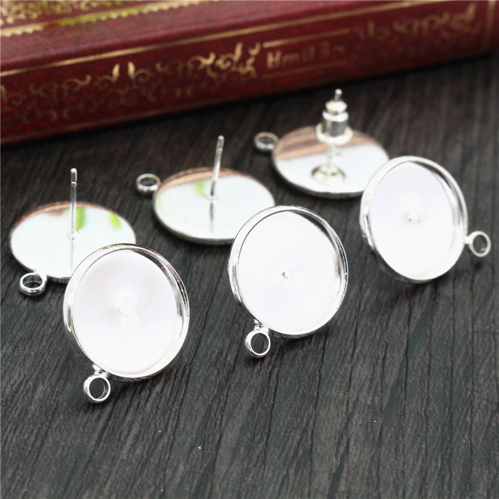 14mm 10pcs/Lot Silver Colors Plated Earring Studs,Earrings Blank/Base,Fit 14mm Glass Cabochons,earring Setting-T2-28