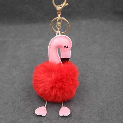 Flamingo bonito chaveiro pompom mulheres anel chave do carro chaveiro Bola De Pêlo Falso fofo de pelúcia saco charme acessórios pom pom chave cadeia