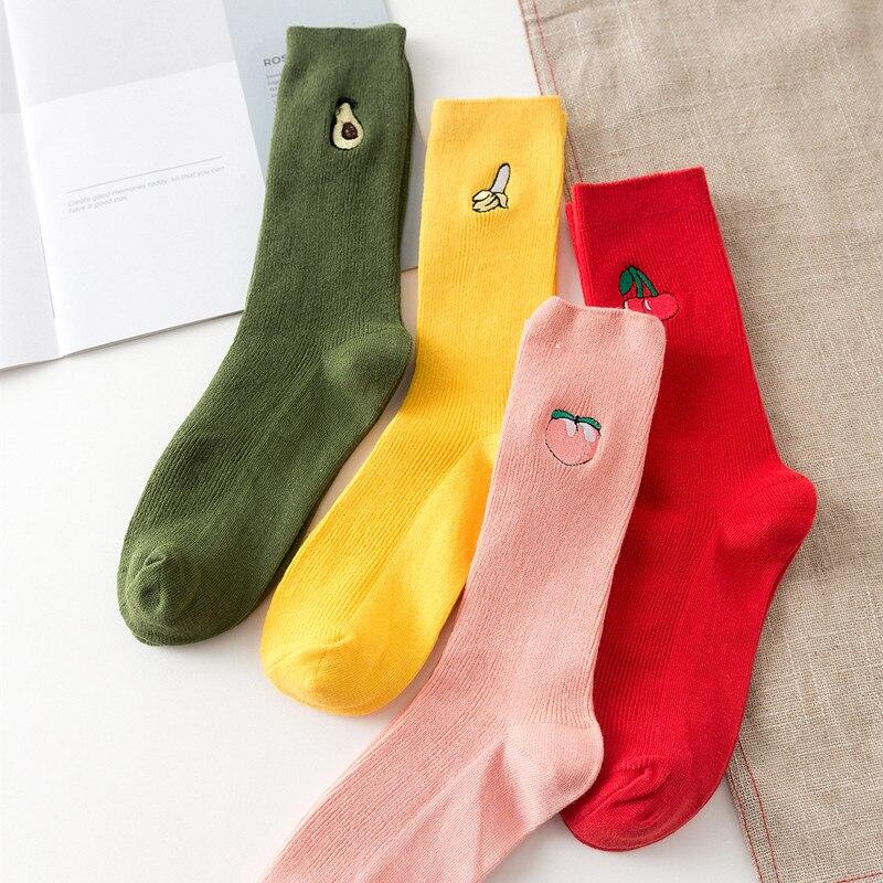 Funny Socks Cotton Cute Fruit Print Women's Socks Meias Retro Embroidery Long Colorful Funny Socks Women Girls Multicolor Sock