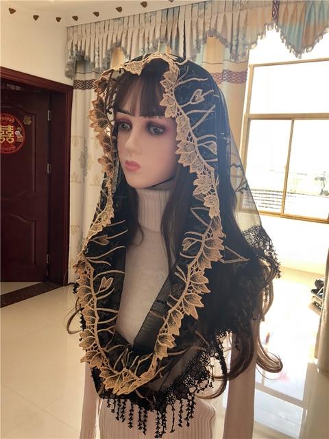 נשים של קתולית רעלה כיסוי ראש ירושלים המוסלמי אלגנטי צעיף צעיף כנסיית קפלת Voiles Dentelle Velas Negra מטפחות שחור