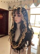 Véu católico feminino headwrap jerusalém muçulmano elegante xale cachecol igreja capela voiles dentelle velas negra mantillas preto