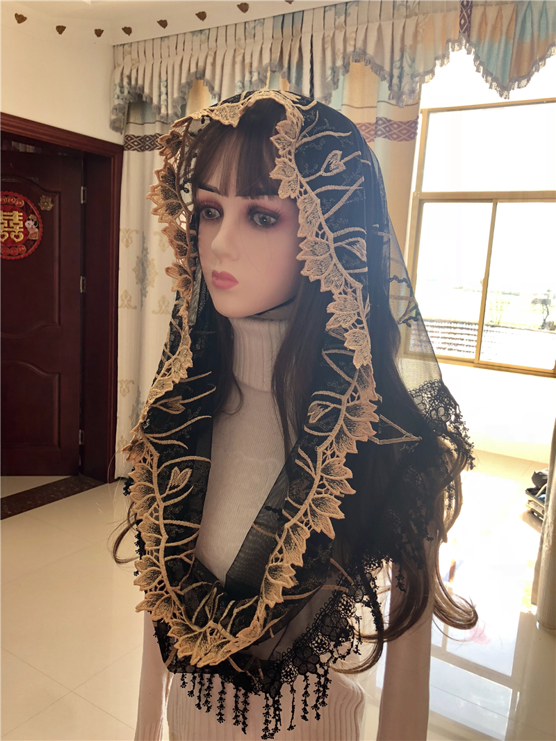 Women's Catholic Veil Headwrap Jerusalem Muslim Elegant Shawl Scarf Church Chapel Voiles Dentelle Velas Negra Mantillas Black