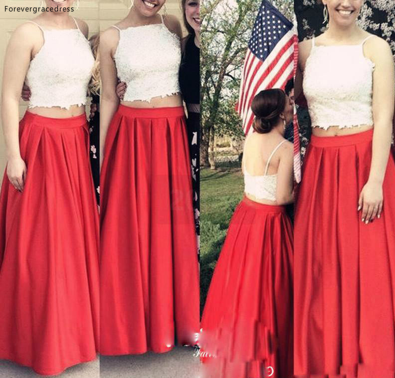 2019 Cheap 2 Piece Bridesmaid Dress Lace Top Spaghetti Garden Country Formal Wedding Party Guest Maid Of Honor Gown Plus Size