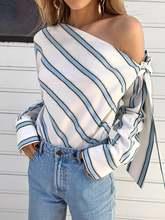 Блузка женская на одно плечо в полоску с длинным рукавом и бантом