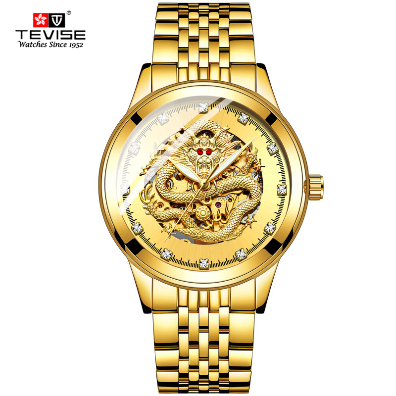 Automatic Mechanical Watch Men Fashion Brand TEVISE Dragon Golden Stainless Man Watch Waterproof Sport Watches Relogio Masculino