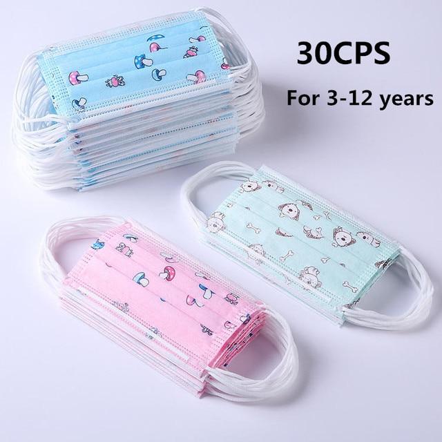 30Pcs Child Kids Disposable Face Masks 3 Layer Anti-Dust Pollution Masks Fabric Non Wovens Dustproof Cartoon Dog Cat Car Mask