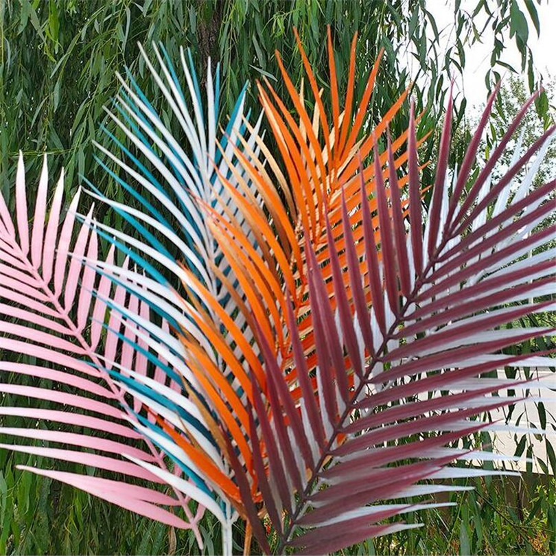 10pcs Artificial Single Palm Leaf Simulation Plant Plastic Palm Tree Branch Greenery Plant For Floral Arrangement Palm Sunday