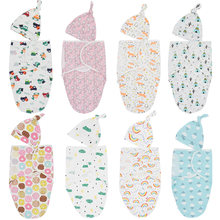 Baby Swaddle Blanket+Cap Cotton Cocoon Swaddle For Infant Baby Warp Muslin Diapers Baby Sleeping Bag Envelope Sleep Sack Bedding(China)