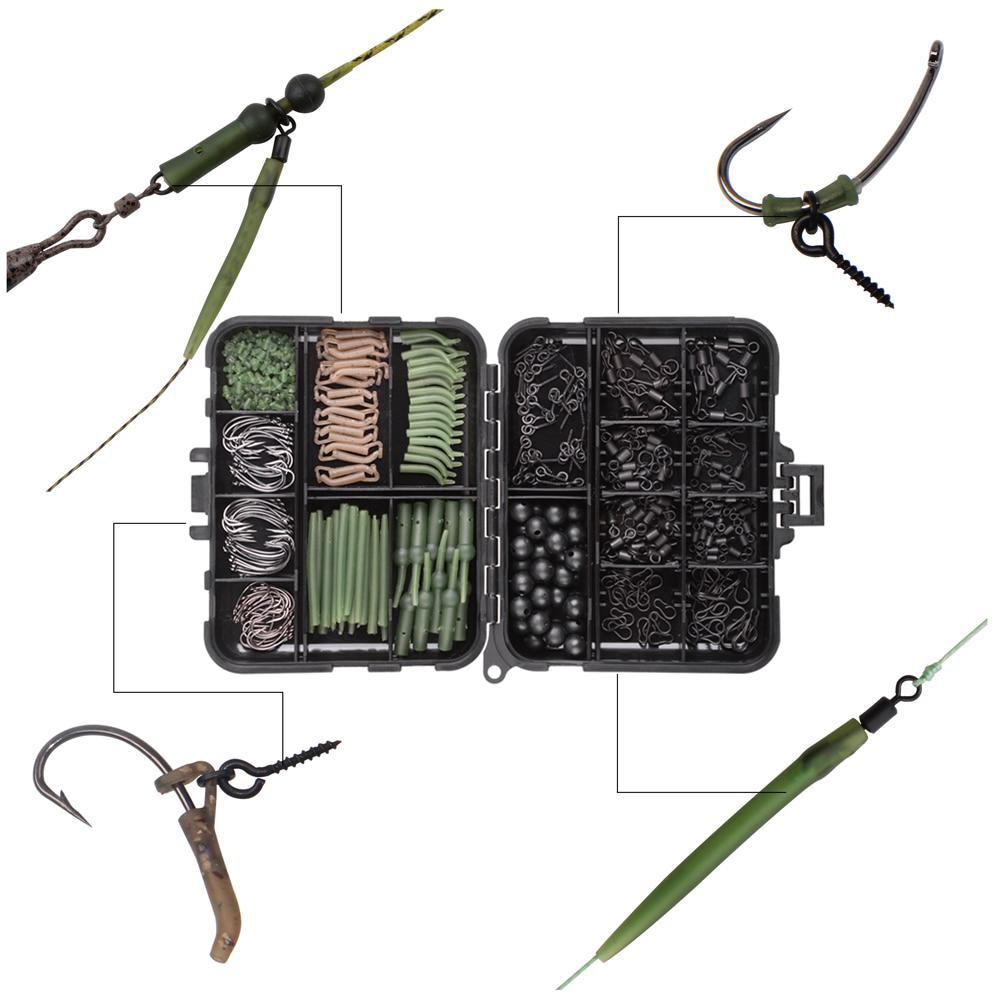 Boîte de matériel de pêche à la carpe,kit d'accessoire comprenant hameçons pivotants, manchons anti enchevêtrement, perles d'arrêt, appât, amorces, vis et autres, boîte de 420 pièces, 5