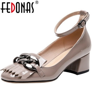 FEDONAS Slip On Elegant Women Cow Patent Leather Party Basic Shoes Spring Casual Round Toe Thick Heeled Shallow 2020 Shoes Woman