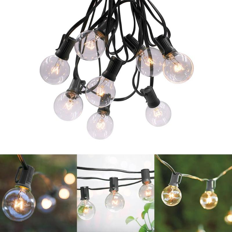 G40 15m 50LED Ball Bulb Fairy String Light Waterproof Decorative Lamp For Garden High Light Efficiency No Thermal Radiation
