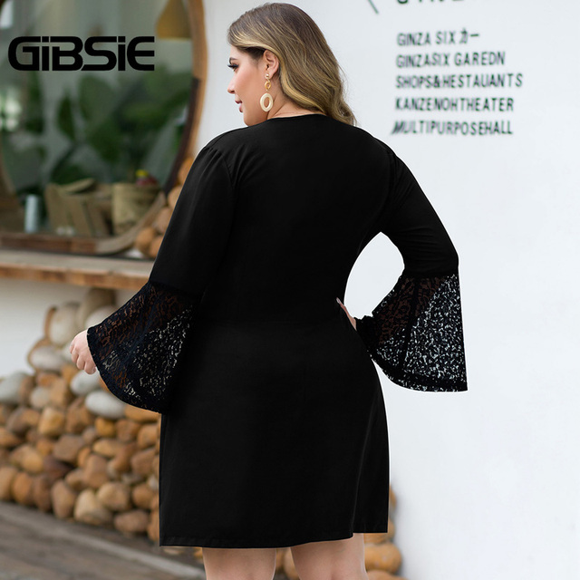 GIBSIE Sexy V-neck Double Breasted Blazer Dress Women Plus Size Lace Patchwork Flare Long Sleeve Autumn Office Lady A-Line Dress 2