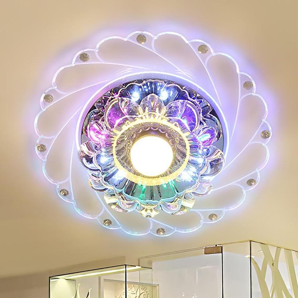 Moderne plafonnier à LED en cristal lumière circulaire Mini coloré plafonnier Luminarias rotonde lumière pour salon allée couloir Ki