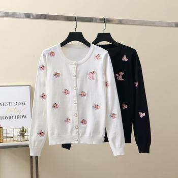 Merchall Sweet Fashion Tiger Embroidery V-neck Vintage Cute Knitted Cardigan Sweater Spring Autumn Summer Women Coat Girl