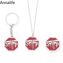 2019 New Game The Last of Us Firefly Logo Badges Necklace&Keychain 3D Metal Enamel Pins Collection Souvenir Fans Jewelry(China)