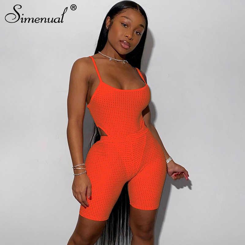 Simenualスパンコールフィットネスセクシーな女性マッチングセットストラップクラブパーティーファッションボディコン2ピース衣装ボディスーツとバイカーパンツセット
