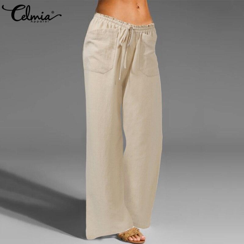 Celmia Women Vintage Linen Trousers Long Palazzo 2021 Fashion Wide Leg Pants Casual Elastic Waist Solid Loose Pantalon Oversized