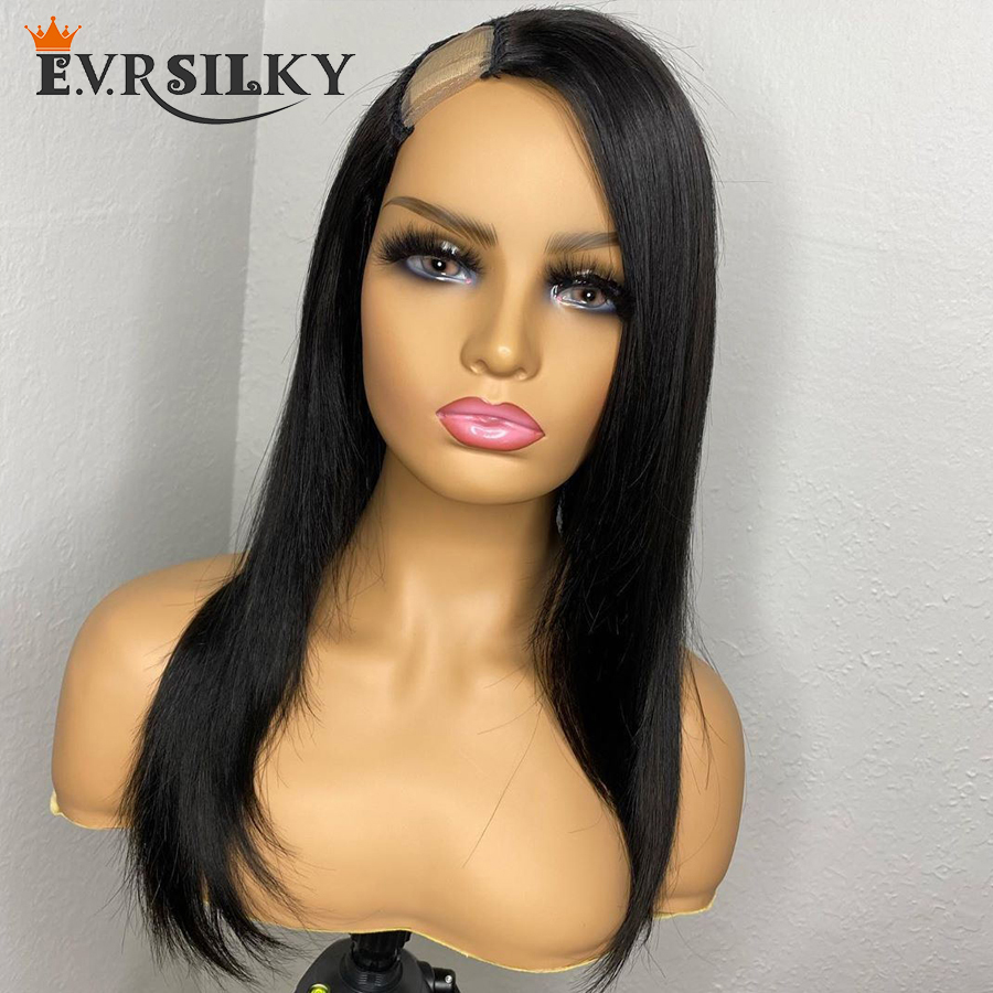 Indian Silky Straight 1x4 U Part Human Hair Wigs for Women 200Density Natural Color Side Part  U Part Wigs Remy Hair