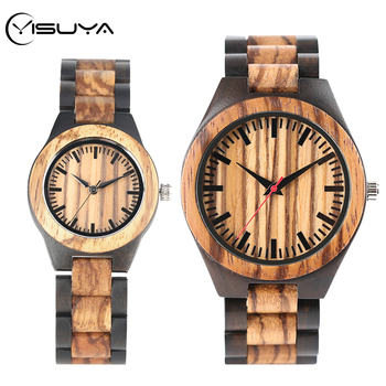YISUYA Brand Wooden Watches Stripe Dapple Pattern Quartz Watch Natural Band Creative Sport Fashion Clock for Couple Gifts