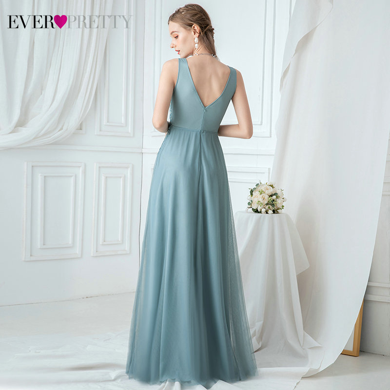Elegant Blue Prom Dresses Long Ever Pretty A-Line Deep V-Neck Appliques Sleeveless Sequined Tulle Spakle Party Gowns Gala Jurken